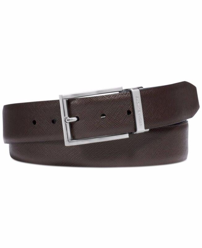 $385 Michael Kors Mens Black Brown Reversible Jet Set Dress Leather Belt Size 42