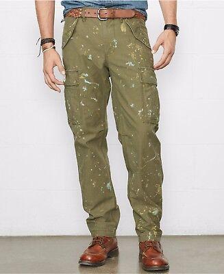 Polo Ralph Lauren Denim & Supply Mens Slim Fit Green Artist Paint Cargo Pants
