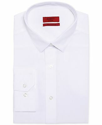 $95 ALFANI Men FITTED STRETCH WHITE LONG-SLEEVE BUTTON DRESS SHIRT 15-15.5 32/33