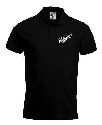 New Zealand National Rugby Polo Sizes S-XXXL Embroidered Logo