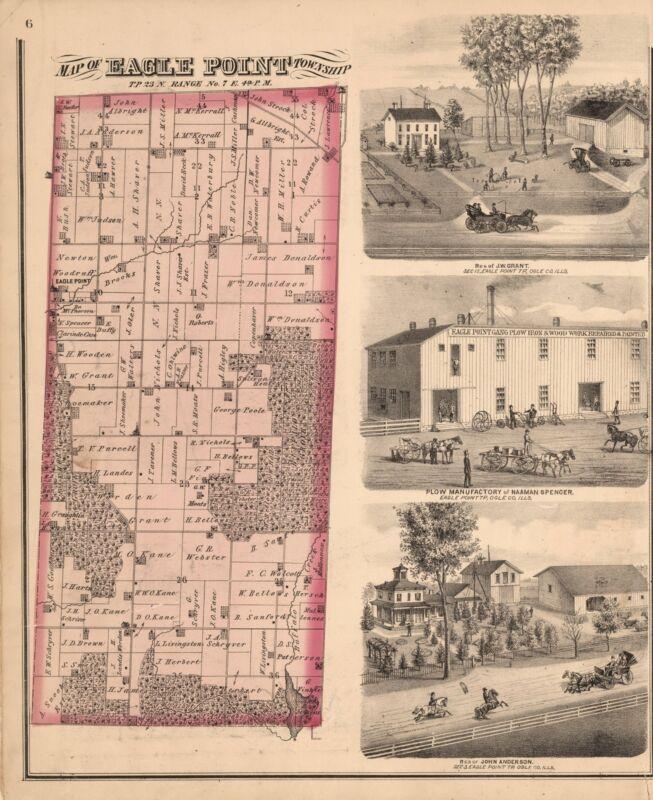 1872 OGLE COUNTY Atlas ILLINOIS maps GENEALOGY state PLAT old LAND OWNER DVD P21