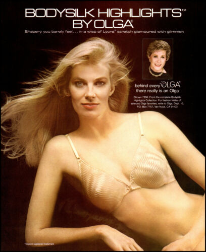 1984 Pretty Blonde Woman modeling Olga Body Silk Bra retro photo print ad S19