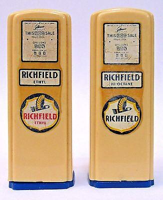 1950's RICHFIELD Export Pennsylvania matched GAS PUMP salt & pepper shakers set*