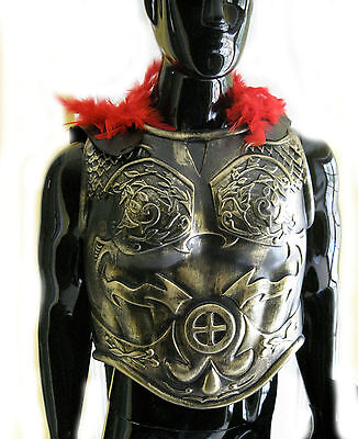 Adult Roman Soldier Costume (Roman Greek Soldier Army Chest Armor & Black Cape Adult Halloween Costume)