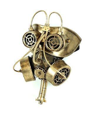Steampunk Gas Mask Respirator Gear Goggles Punk Goth Rave Cyber Burning man Gold - Gothic Gas Mask