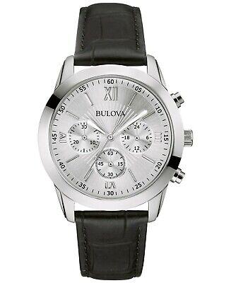 Bulova Men's Quartz Chronograph Black Leather Strap 40mm Watch 96A162