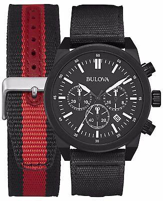 Bulova Men's 98B280 Chronograph Quartz Interchangeable Strap Black 45mm Watch