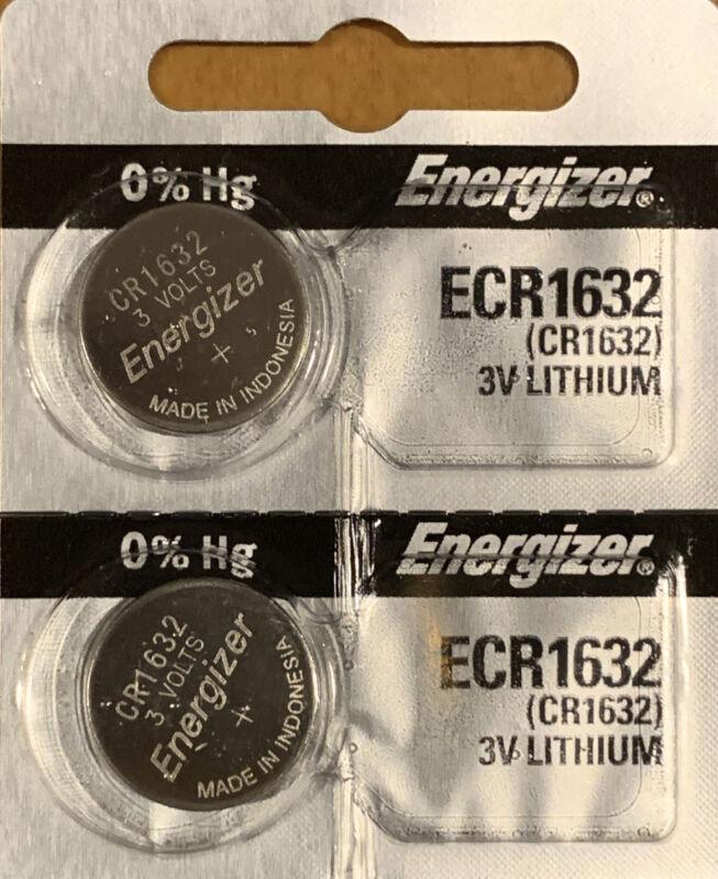 2-Energizer 1632 CR1632 ECR1632 Lithium 2 Batteries Exp 2027