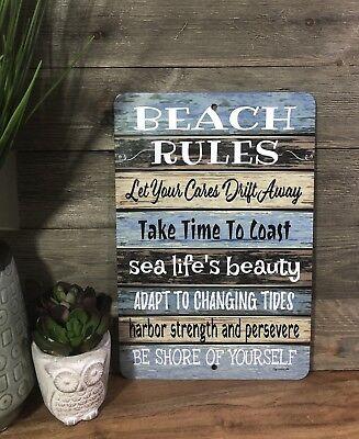 Beach Rules Sign- Beach Sign - Metal Sign - Beach Decor - Pool Sign - Beach Blue (Beach Decoration)
