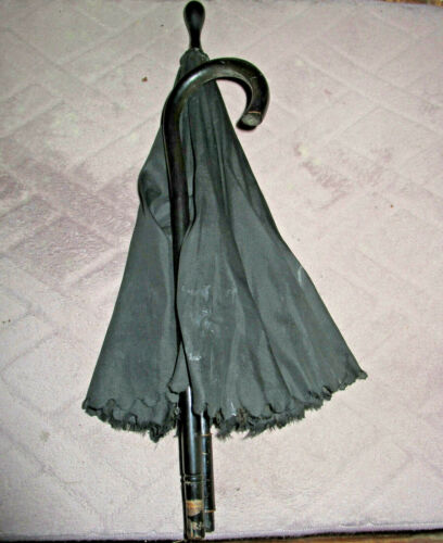 VINTAGE BLACK VICTORIAN MOURNING FOLDING PARASOL SMALL FOLDING