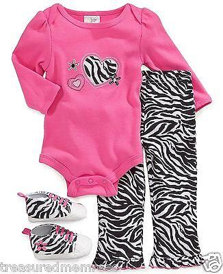 3 Piece Cutie Pie Baby Zebra Print Bodysuit, Pants & Shoes ~ Size 3-6 Mons ~ - Cutie Pie Shoes