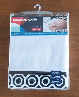 Geometric Crib Skirt (Jonathan Adler New Crib Skirt NIXON Black/White Modern Geometric Unisex Bedding )