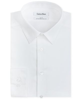 $175 CALVIN KLEIN Men SLIM-FIT WHITE LONG-SLEEVE BUTTON DRESS SHIRT 17.5 34/35