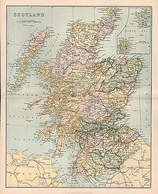 1900 Ca ANTIQUE MAP SCOTLAND