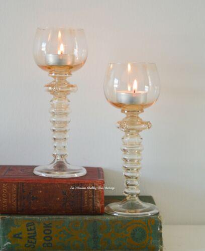 German Wine Goblets Pair Vintage Roemer Pale Amber Hand Blown Glass Tea Lights