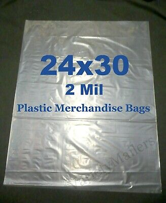 10 Extra Large 24x 30 2 Mil Clear Flat Plastic Merchandise Storage Bags