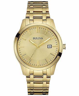 Bulova Men's Quartz Champagne Dial Gold-Tone 40mm Bracelet Watch 97B145