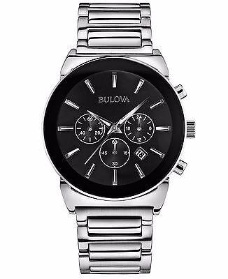 Bulova Men's 96B203 Quartz Chronograph Black Dial Bracelet 41mm Watch