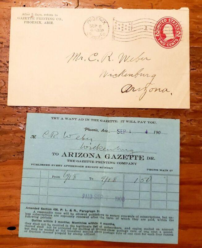 1908 Bill & envelope Famous Early Arizona Territory Miner C. R. WEBER WICKENBURG