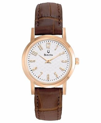 Bulova Women's 97L121 Quartz Rose Gold Case Silver Dial Brown Leather Band Watch