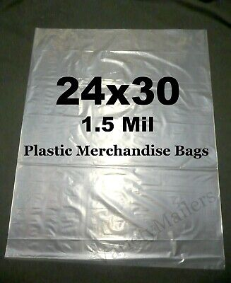 25 Extra Large 24x30 1.5 Mil Clear Flat Plastic Merchandise Storage Bags