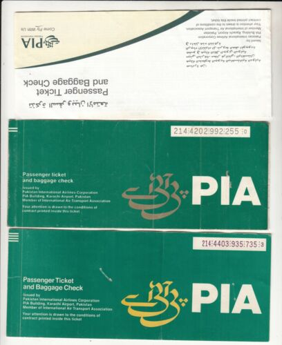 PAKISTAN PIA AIRLINES PASSENGER TICKET AND BAGGAGE CHECK LOT OF 3 DIFF LOT D