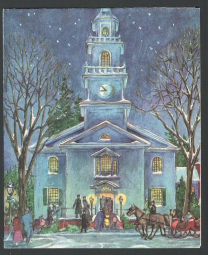 Vintage 1961 Christmas Card Snowy Church Scene Horses & Sleigh