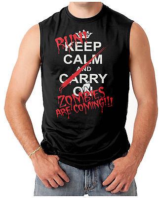 Run Keep Calm Zombies Are Coming- Halloween Men's SLEEVELESS T-shirt - Halloween Running Shirts