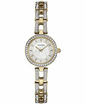 Bulova Women's Swarvoski Crystal Accents Quartz Gold Tone 23mm Watch 98L213