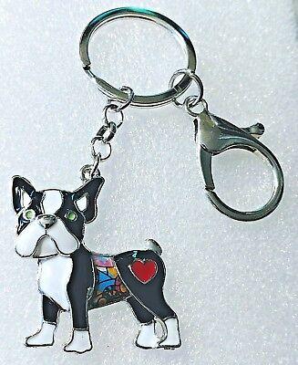 Boston Terrier Dog Pup Jewelry Enamel Key Ring Multicolor Keychain Jewelry
