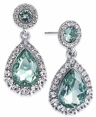 NEW CHARTER CLUB Silver-Tone Pavé & Colored Crystal Drop Earrings