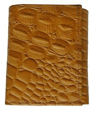 Crocodile Embossed Credit Card ID Cowhide Leather Men's Tan Trifold Wallet new