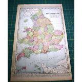 England & Wales - Rare Original 1900 Rand McNally Antique Atlas Map - Indexed