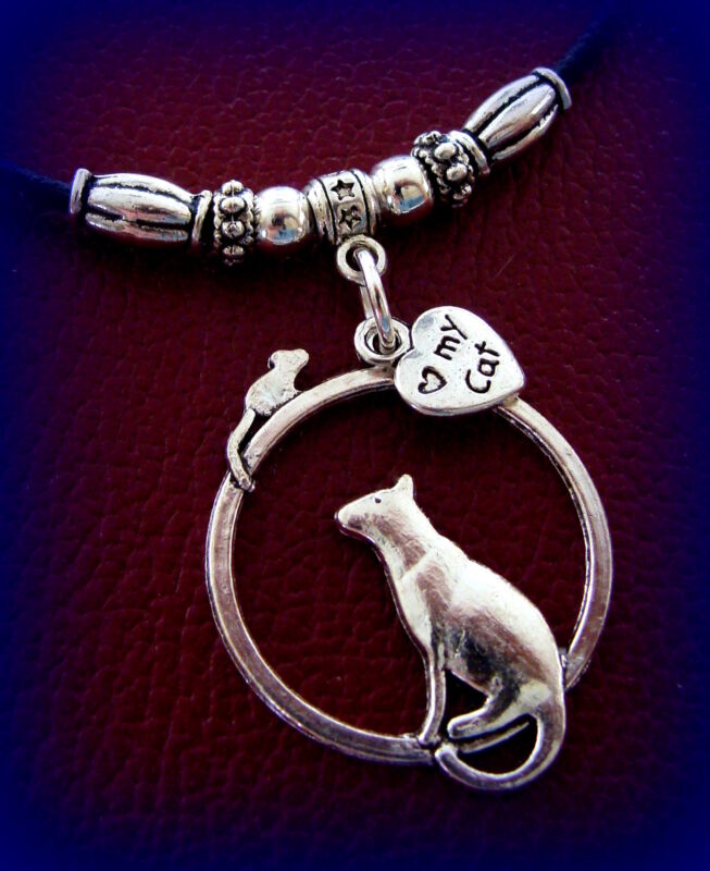 Kitty CAT KITTEN and Mouse PENDANT Necklace JEWELRY Retro Art Deco style Feline