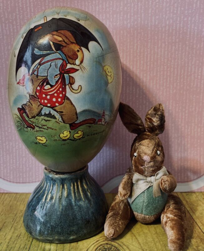 "Vintage Paper German 7"" Egg With Velvet Fur Bunny And Handmade Pottery Egg Holde"