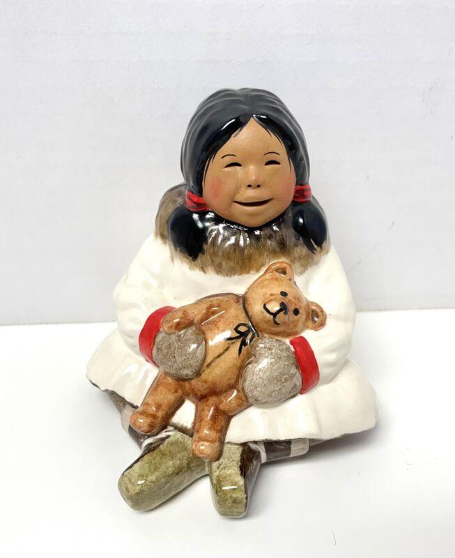 "C. Alan Johnson Alaska Eskimo ""Abby"" Signed Figurine 2001 AT158"