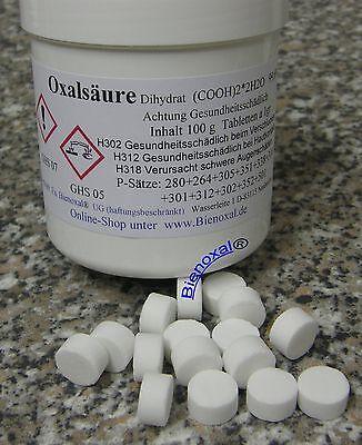 Oxalsäure Tabletten Imkerei Oxalsäuretabletten Imker 100 g Durchmesser  ca 12mm
