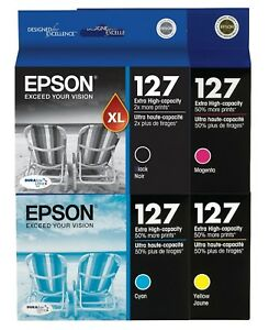 Genuine Epson 127 Ink 4-Pack for Workforce 645 840 845 WF-3520 WF-3530 WF-3540