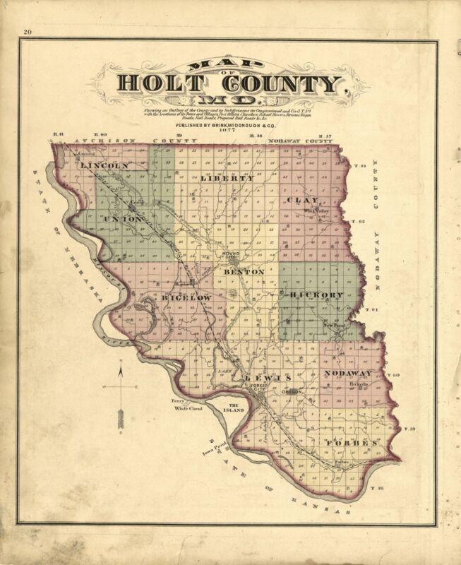 1877 atlas HOLT COUNTY Missouri plat maps old GENEALOGY history DVD P67