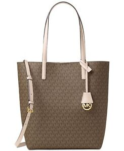 afe6c3c2935b Michael Kors Hayley Large NS Tote PVC Mocha/bisque With Pouch 30f6gh3t7v