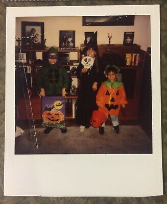 Vintage Found Photograph Polaroid Of Three Kids In Their Halloween Costumes](Trio Of Halloween Costumes)