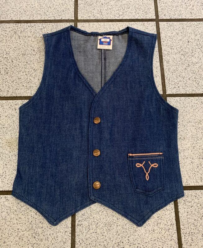 Vintage Girls Denim Vest Western Blue Jean Hippy WRANGLER 1970s NEW Sz 8
