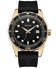 Bulova Men's Quartz Calendar Black Dial Black Silicone Strap 43 mm Watch 98B261