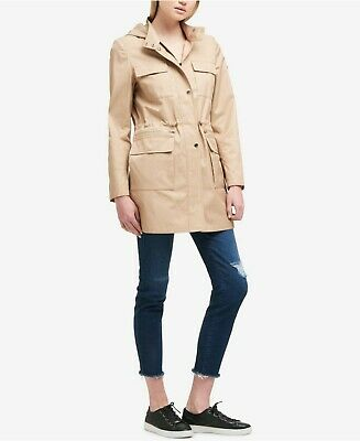 - DKNY Hooded Cinched Waist Raincoat Khaki or Navy-Helps Rescued Animals!  70% OFF