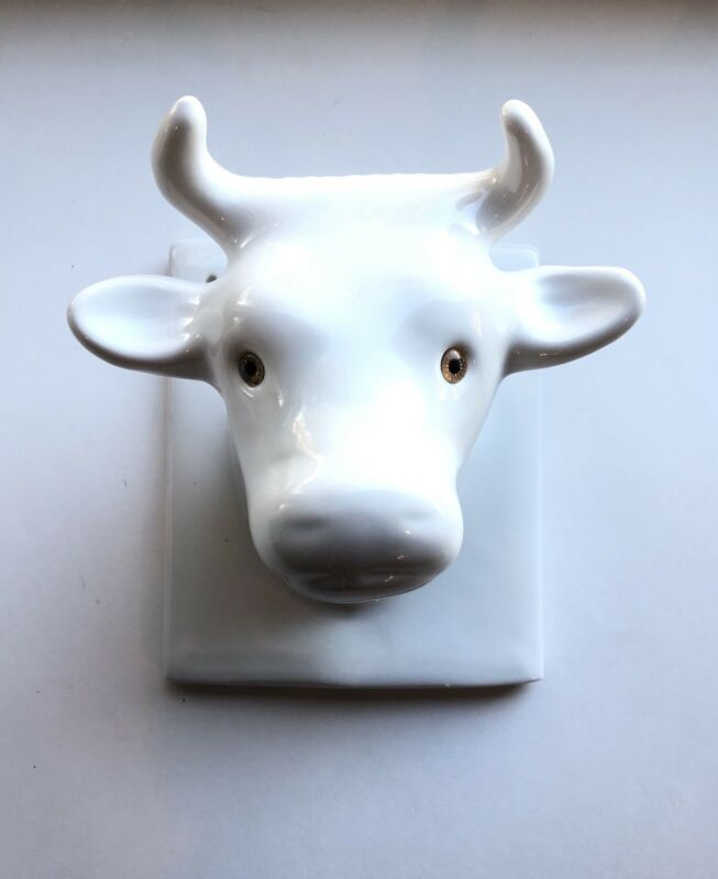 •EUC• Vintage Ceramic Bull Head Towel/Apron Holder Wall Hanger •Gailstyn Sutton•