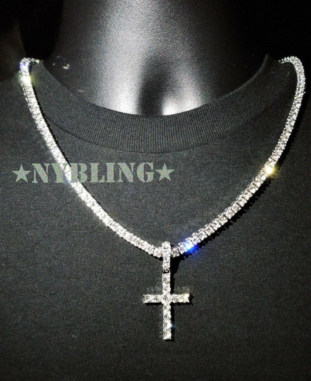 Jewellery - 14k Gold Silver IP Tennis Chain Cross Pendant Choker Lab Diamond ICED Necklace