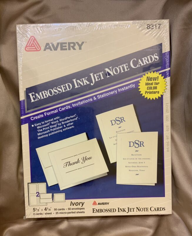 Avery | Embossed Ink Jet Note Cards | 5 1/2 x 4 1/4 ~ Ivory 50 Pack w/Envelopes