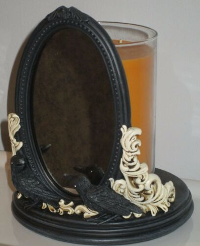 Yankee Candle Halloween Raven Night Jar Candle Holder, Ravens with Mirror, NIB