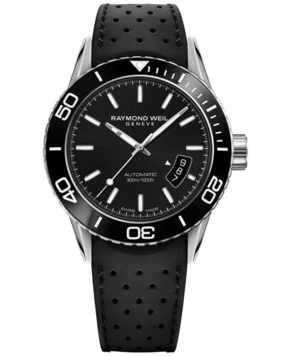 New Raymond Weil Freeelancer Diver Rubber Strap Mens Watch 2760-SR1-20001