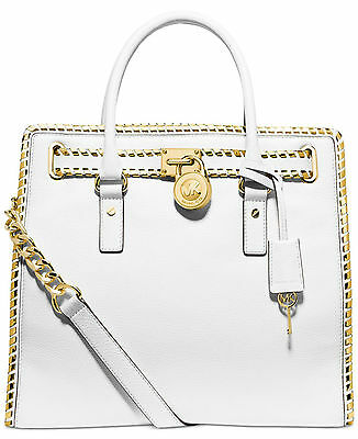 Michael Kors Whipped White Gold L Satchel Hamilton Convertible Leather Totes Nwt